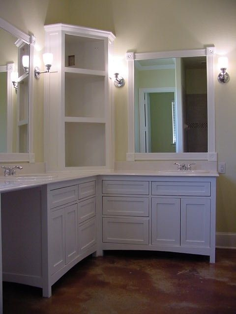 Shaker Style His and Hers Vanity awesome for a big enough bathroom. Bathroom  Corner CabinetVanity ... - Best 25+ Bathroom Corner Cabinet Ideas On Pinterest Small Corner