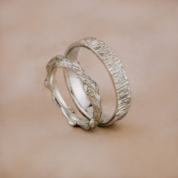 Nature - 14K White Gold Wedding Rings, Branch Shape Gold Wedding Bands, Gold Wedding Rings, Textured Gold Wedding Bands, Handmade Jewelry