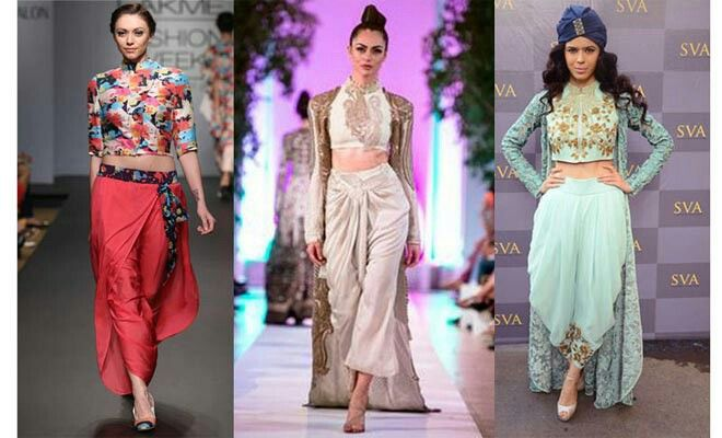 This is the new trends: dhoti pants and crop top (saree blouse) beautiful!