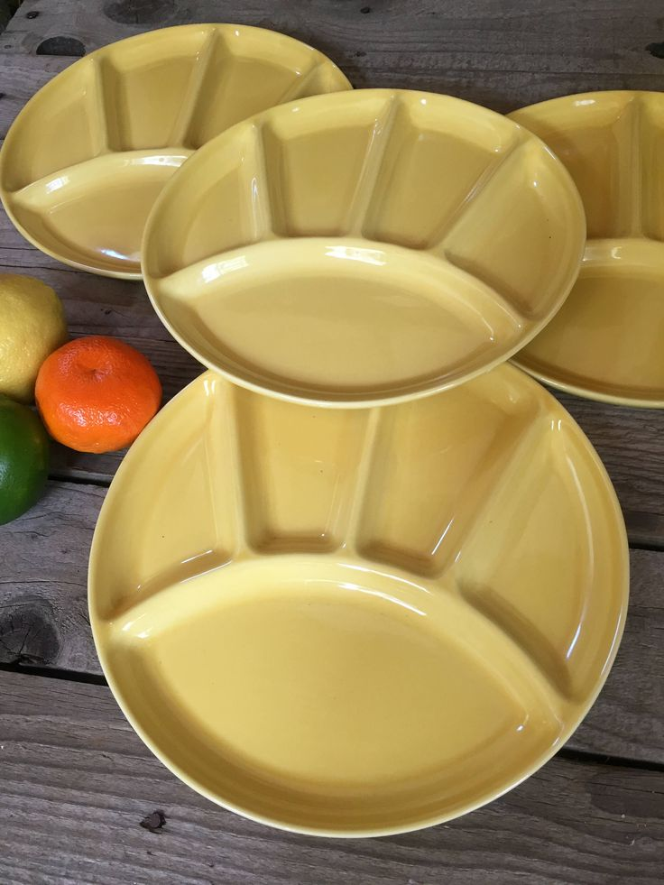 Vintage set of 4 Fitz and Floyd yellow luncheon plates, fondue plates, sushi plates,retro mid century modern spring tablescape appetizers by Atatteredtulip on Etsy