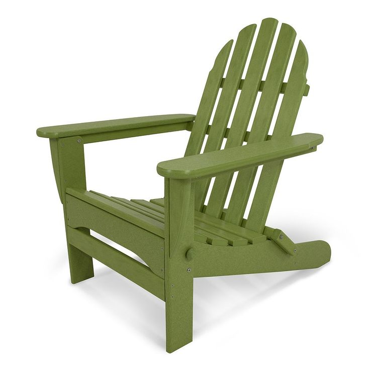 POLYWOOD Classic Folding Adirondack Chair - Outdoor, Lt Green