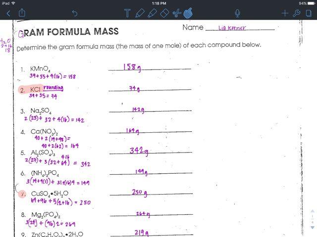 Liakeenerchemistry Gram Formula Mass Worksheet With Images