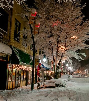 """My favorite """"little"""" town...downtown Waynesville, NC after a gorgeous snow storm! Pic by photographer Ed Kelley! #Waynesville #snow"""
