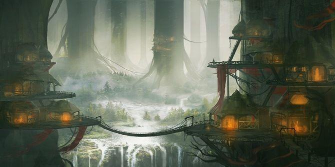 арт, пейзаж, водопад, хижины, деревья, kingcloud, город, гигантские, мост, дома
