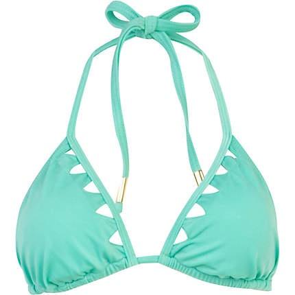 Mint green triangle cut out bikini top