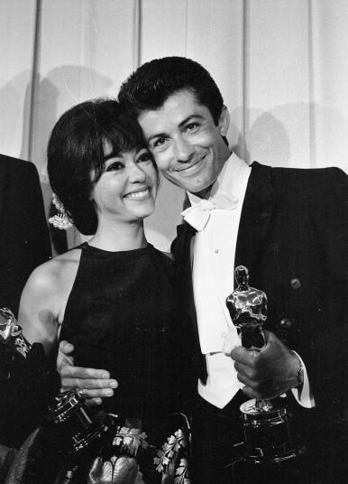 "George Chakiris & Rita Moreno, Oscar Winners for 1961--Best Supporting Actor and Actress for ""Bernardo"" and ""Anita"""
