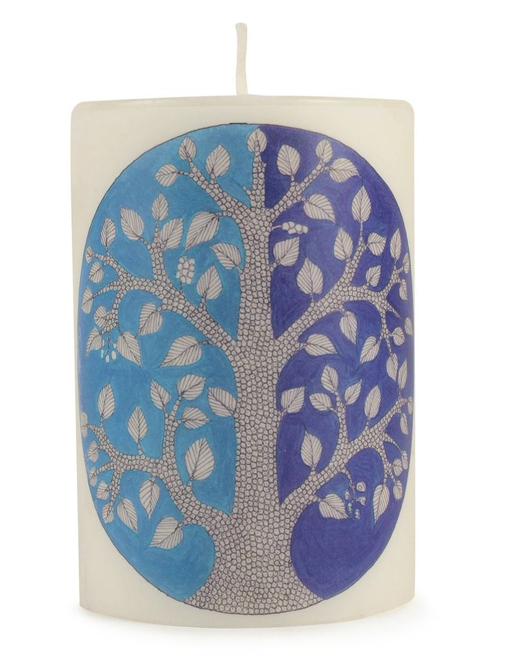 Buy Blue Lavender Tree of Life Gond Art Winter Pillar Candle Musk Soot free wax Lemongrass natural fragrance oils. Home Accents Decor Trays Candles Coffee Mugs and Notepads Online at Jaypore.com