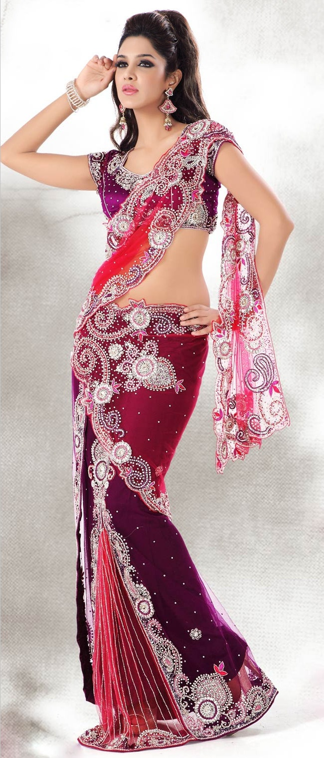 @PinFantasy - Red and Purple Net Lehenga Style Saree With Blouse