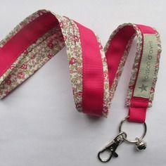 Porte-clés collier en liberty eloise rose & fuschia