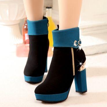 USD28.49Winter Round Toe Chunky High Heel Zipper Ankle Rhinestone Blue PU Cavalier Boots