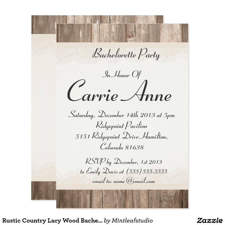 23 best bachelor bachelorette party invitations and gifts images rustic country lacy wood bachelorette party invite stopboris Image collections