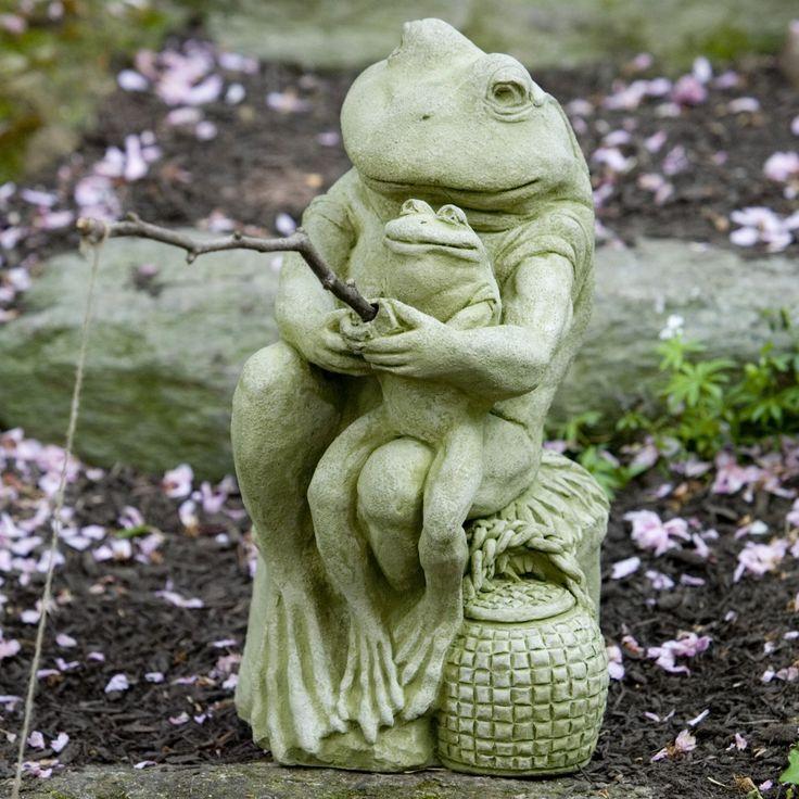 Campania International Gone Fishinu0027 Frogs Cast Stone Garden Statue