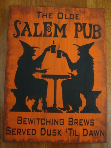 The Olde Salem Pub Witches Wood Sign Plaque Halloween Decor Prim | eBay