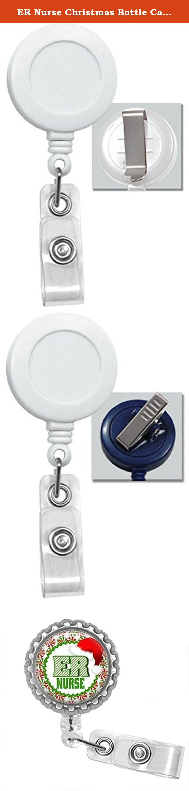ER Nurse Christmas Bottle Cap Retractable Badge ID Holder. ER nurse Christmas bottlecap badge reel is a great item to hang your work or school Id's from. Badge is 1.25 in diameter. The badge also is a Retractable badge with your choice of either a clip or a swivel alligator clip Pictures 2 is a slide clip picture 3 is an alligator clip. The retractable cord is 24 inches Badge reel says ER Nurse. The color of the badge reel is white.
