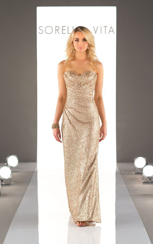8794 Floor Length Sequin Metallic Bridesmaid Dress by Sorella Vita