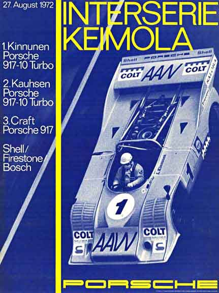 Interserie Keimola Porsche, Erich Strenger; original Porsche racing poster.