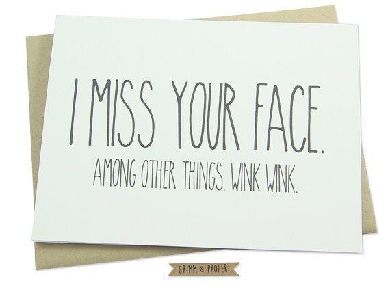 Miss You Card Miss Your Face Love Long Distance door GrimmAndProper