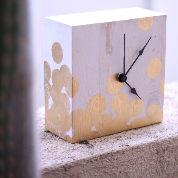Wooden white with gold polkadots hand painted by littlerocksPK