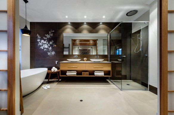 decoration-zen-bathroom-tile-wall-black-floral-pattern-furniture-wood-basin