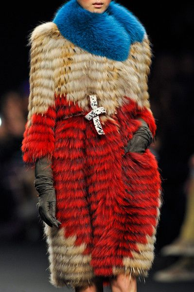 red and blue with a black and white accent (Angelo Marani F/W 2013, Milan Fashion Week)