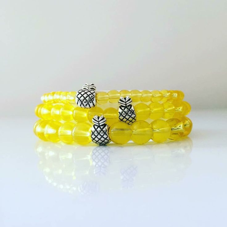 #PineapplePrincess #StackAttack      4/6/8mm Yellow Quartz beads and pineapple focal beads!