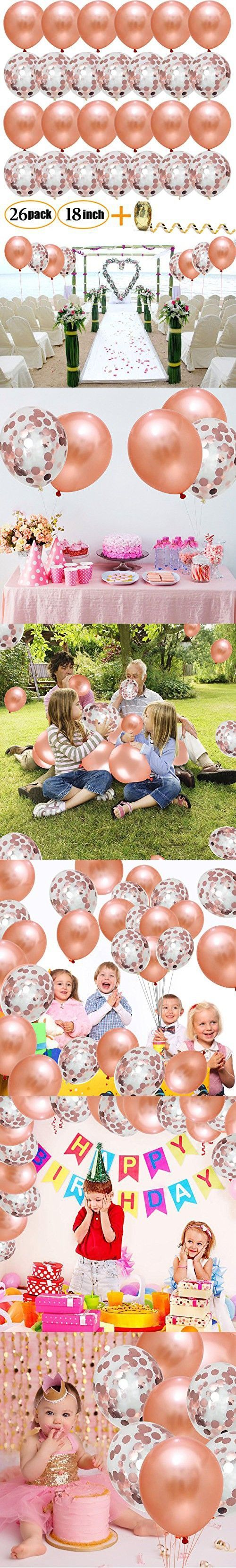 Rose Gold Confetti Balloons,TerrificCorner Balloon Decoration Pack of 26,18 Inch Latex Party Balloons for Wedding, Bridal Shower, Engagement, Birthday...
