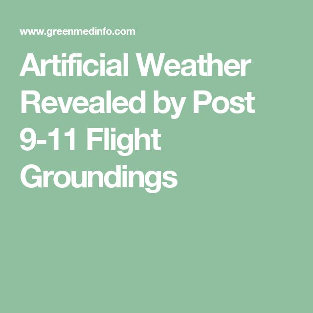 Artificial Weather Revealed by Post 9-11 Flight Groundings