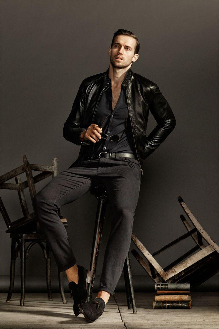 Fashion in Black: Leather jacket by Massimo Dutti, UK.
