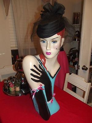 Vintage style art deco flapper mannequin head hat stand for Mannequin de couture deco