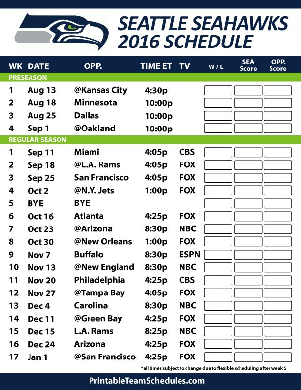 2016-17 Seattle Seahawks Schedule