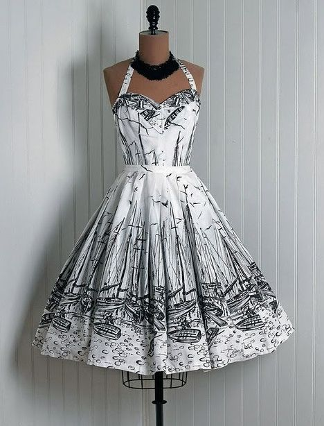 1950s Vintage Halter Dress http://thehousewifeinpearls.blogspot.com/2012/05/1950s-fashion.html//  black