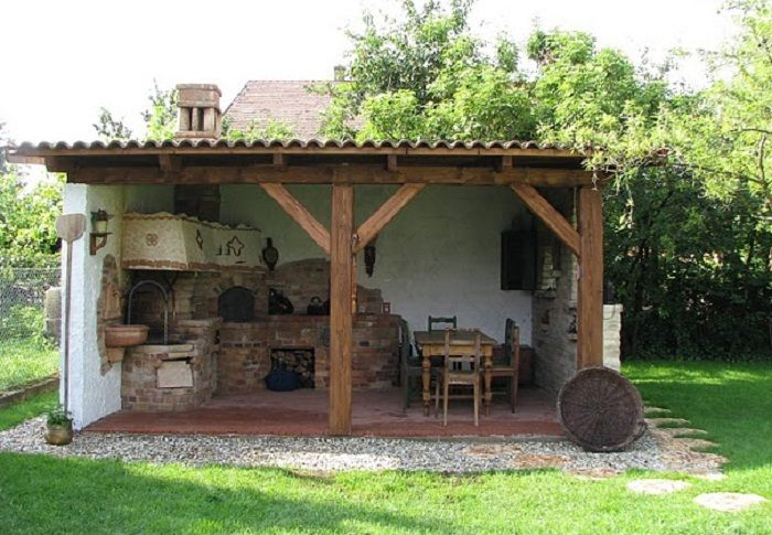 """Outdoor kitchen! This is along the lines of how I want my """"white"""" bake-oven / water boiler / cooktop setup."""
