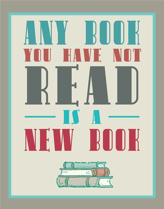 Bibliophile Typography Print Aqua and Red and by FlourishCafe