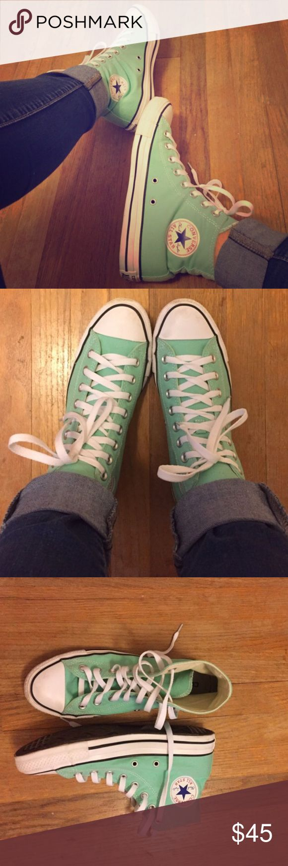 CUTE Like-NEW Mint Green Converse High Tops ❤️ Like NEW Mint Green Converse High Tops, only worn 2x! Perfect for your fall outfit! Size 9 Women's! Converse Shoes Sneakers