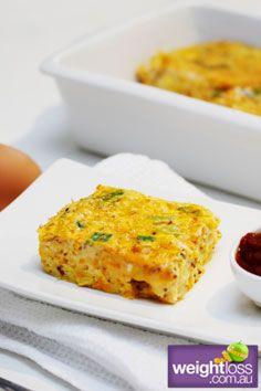 Vegetable & Ham Slice. #HealthyRecipes #DietRecipes #WeightLossRecipes weightloss.com.au