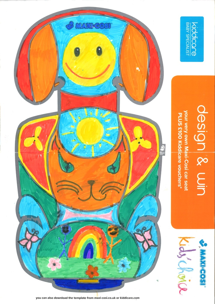 BRONZE WINNER Lauren Stevens (Age 10) Another bright and beautiful design, Lauren's seat features flowers, butterflies, smiley faces and a rainbow. Judges loved the way she used the shape of the back rest as inspiration for a very happy tabby cat, which is why they made her a Bronze winner!: Tabby Cats, Winner Lauren, Features Flowers, Smiley Faces