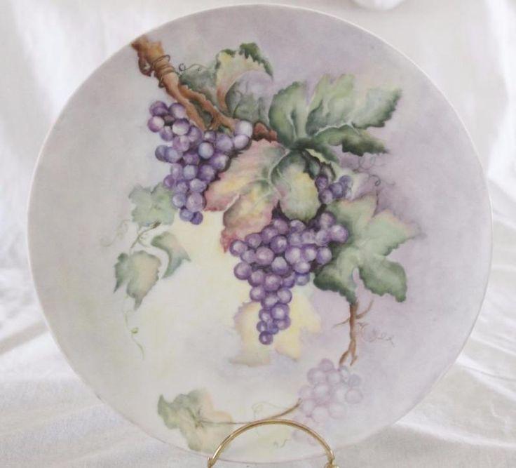 """Mão pintada de uvas Roxo deixa Carregador Grande Prato De Armário 10 """"assinados pelo artista"""