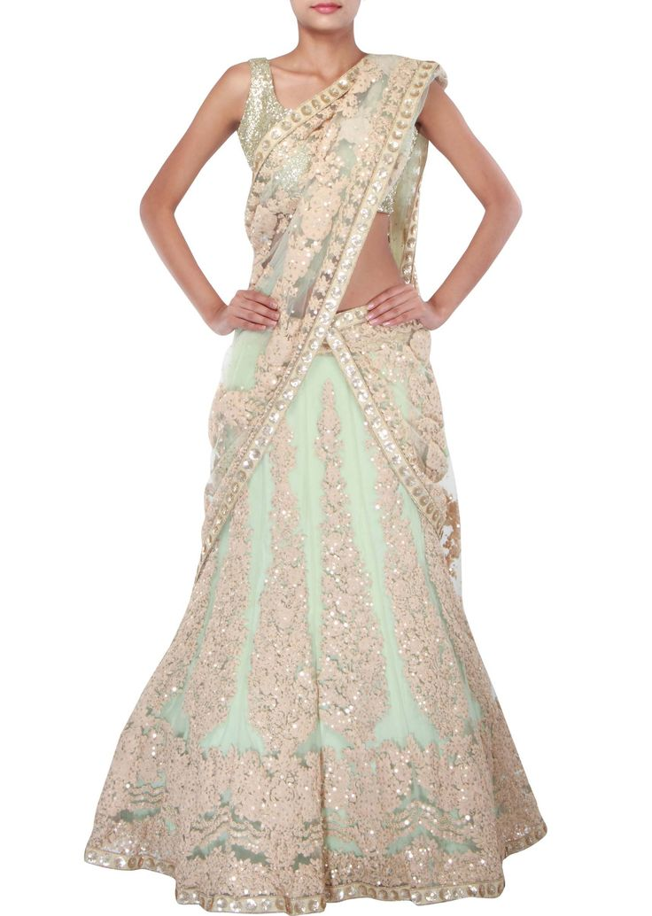 Light green lehenga adorn in thread and sequin embroidery only on Kalki - Kalkifashion.com