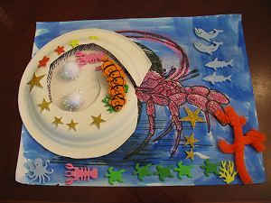 A house for Hermit Crab craft that helps with fine motor skills.