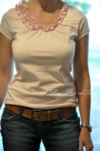 JCrew Inspired Tee Shirt Re-Make: Tees Shirts, Diy'S Ruffle, Pink Tees, Things Heart, Ruffles Tees, Sewing Diy'S, Shirts Tutorials, Ruffles Shirts, Finish Pink