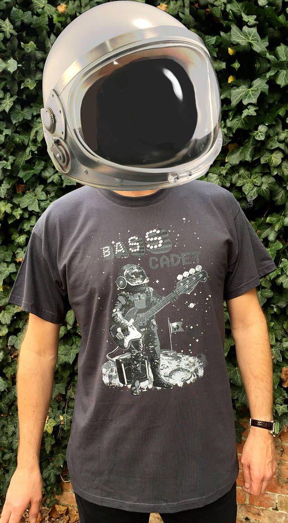 Mens printed T-shirt Guitar T-shirt Space theme Bass