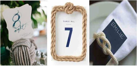 Love Boat Διακόσμηση Δεξίωσης: Μικροί αστερίες και ναυτικοί κόμποι μπορούν να στολίσουν τις πετσέτες των καλεσμένων σας, ενώ τα νούμερα των τραπεζιών θα ήταν όμορφο να καρφιτσωθούν πάνω σε ναυτικούς σπάγγους ή σε κορνίζες από το ίδιο υλικό.