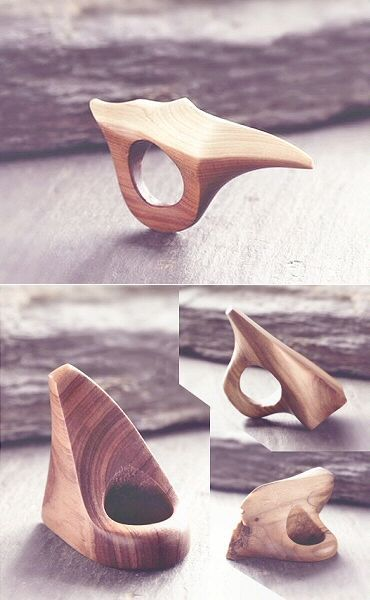 Carved Wood Rings sculpted from cedar & oak - wearable sculptures; contemporary jewellery design // I Am Dorkas