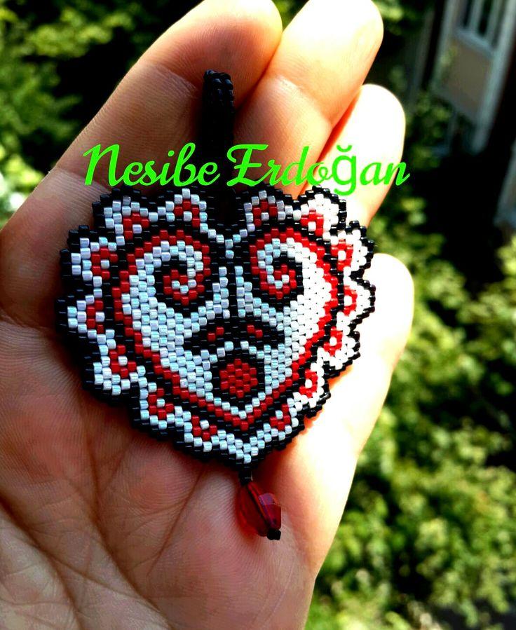Miyuki delica kalp kolye (hearts)