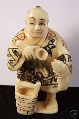 Netsuke Man Spoon Japanese Antique Carved Bone by homespunjewelry, $262.00