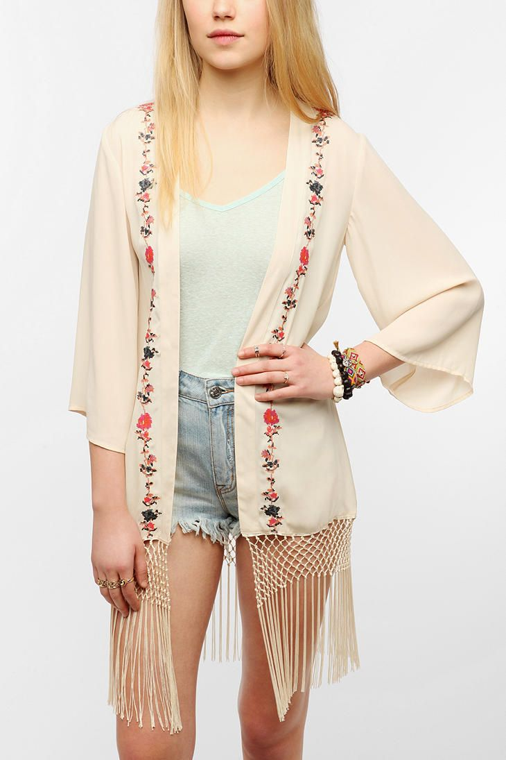Staring At Stars Embroidered Silky Fringe Jacket #urbanoutfitters #acidreign #embroidery