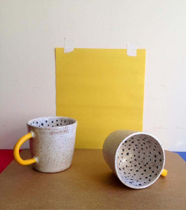 Polka dot ceramic mug surprise with yellow rubber dipper for Mug handle ideas