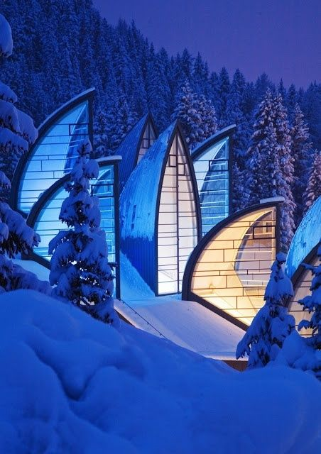Beautiful Swiss Architecture (Tschuggen Grand Hotel) with Natural Landscape - 12 Stunning Photos of Places Decorated with the Most Beautiful Element Water in Solid State