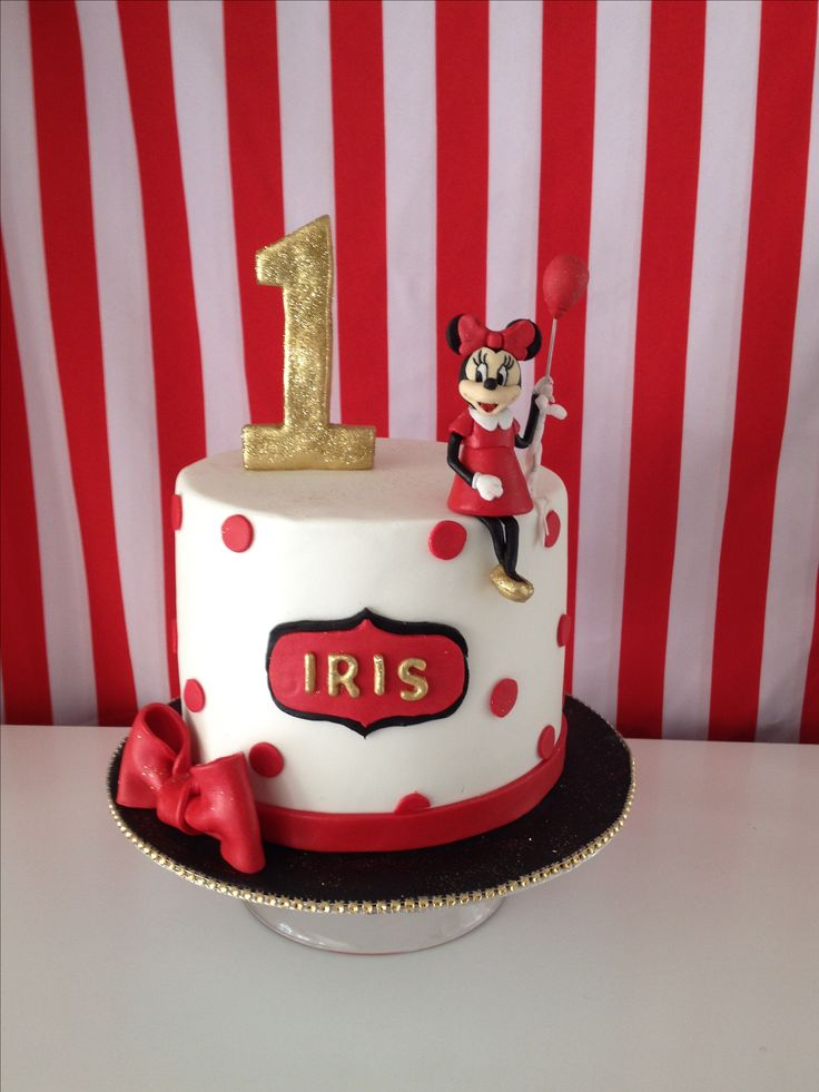 Minnie Mouse cake| first birthday| red and white|gold|lemon cake.