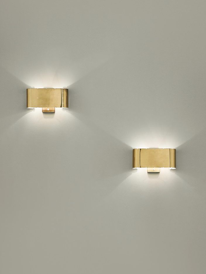 Paavo Tynell; #9460 brass Wall Lights for Taito Oy, 1950s.